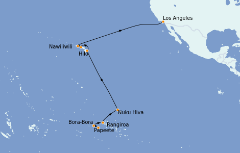 Itinerario del crucero Hawaii 18 días a bordo del Regatta