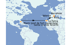 Itinerario de crucero Trasatlántico y Grande Viaje 2022 15 días a bordo del Vision of the Seas