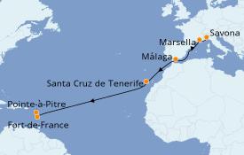 Itinerario de crucero Trasatlántico y Grande Viaje 2019 14 días a bordo del Costa Magica