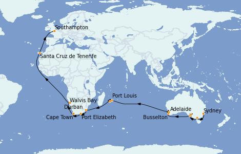Itinerario del crucero Australia 2023 42 días a bordo del Queen Mary 2