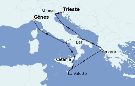 Itinerario del crucero Mediterráneo 8 días a bordo del Costa Luminosa