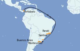 Itinerario de crucero Suramérica 13 días a bordo del MS Marina