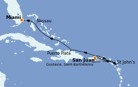 Itinerario de crucero Caribe del Este 8 días a bordo del Seven Seas Splendor