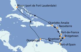 Itinerario de crucero Caribe del Este 15 días a bordo del Emerald Princess