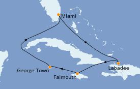 Itinerario de crucero Caribe del Oeste 7 días a bordo del Brilliance of the Seas