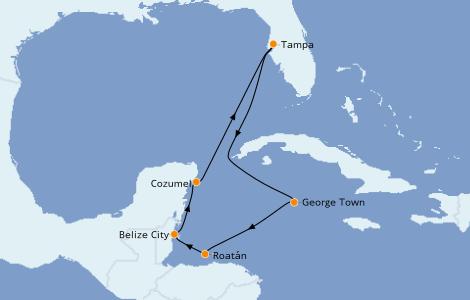 Itinerario del crucero Caribe del Oeste 7 días a bordo del Carnival Pride