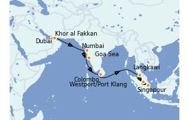 Itinerario de crucero Trasatlántico y Grande Viaje 2021 15 días a bordo del Costa Firenze