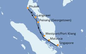 Itinerario de crucero Asia 9 días a bordo del Costa Fortuna