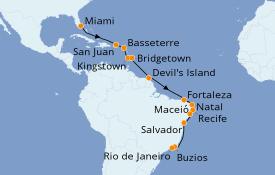 Itinerario de crucero Suramérica 19 días a bordo del Seven Seas Navigator