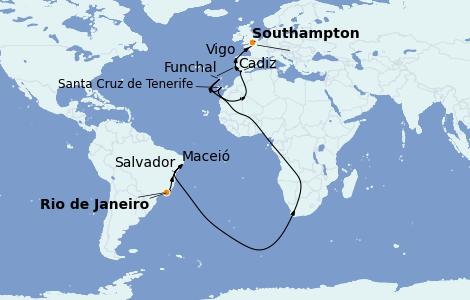 Itinerario del crucero Trasatlántico y Grande Viaje 2022 19 días a bordo del MSC Preziosa