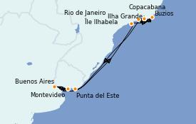 Itinerario de crucero Suramérica 11 días a bordo del MSC Orchestra