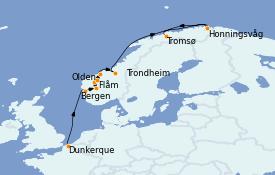 Itinerario de crucero Fiordos y Noruega 13 días a bordo del MS World Explorer