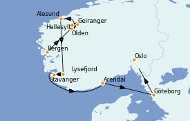 Itinerario de crucero Fiordos y Noruega 8 días a bordo del Le Jacques Cartier
