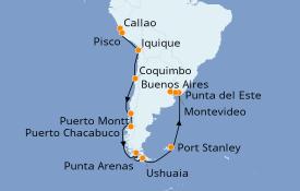 Itinerario de crucero Norteamérica 22 días a bordo del Seven Seas Mariner
