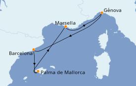 Itinerario de crucero Mediterráneo 6 días a bordo del MSC Opera