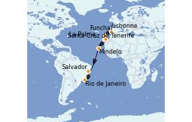 Itinerario de crucero Trasatlántico y Grande Viaje 2022 17 días a bordo del Azamara Pursuit