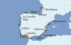 Itinerario de crucero Mediterráneo 14 días a bordo del Azamara Quest