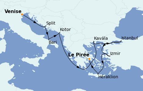 Itinerario del crucero Grecia y Adriático 10 días a bordo del Riviera