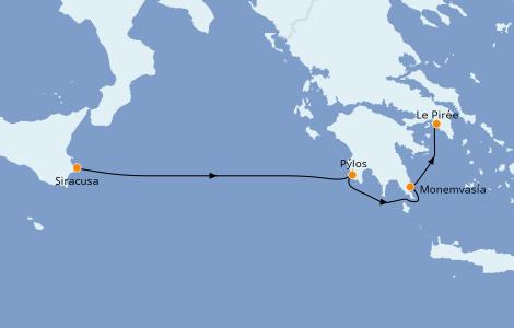 Itinerario del crucero Grecia y Adriático 6 días a bordo del Star Flyer