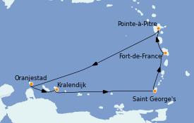 Itinerario de crucero Caribe del Este 8 días a bordo del Costa Fascinosa
