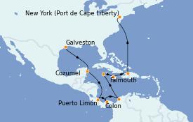 Itinerario de crucero Caribe del Oeste 14 días a bordo del Adventure of the Seas