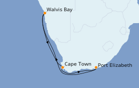 Itinerario de crucero África 8 días a bordo del MSC Opera