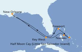 Itinerario de crucero Bahamas 9 días a bordo del Carnival Glory