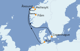 Itinerario de crucero Fiordos y Noruega 7 días a bordo del MSC Meraviglia
