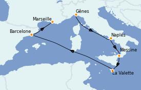 Itinerario de crucero Mediterráneo 7 días a bordo del MSC Seashore