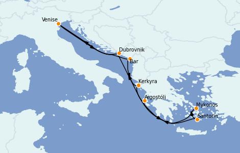 Itinerario del crucero Grecia y Adriático 7 días a bordo del Norwegian Gem