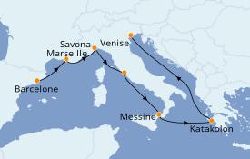 Itinerario de crucero Mediterráneo 8 días a bordo del Costa Luminosa