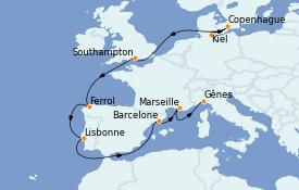 Itinerario de crucero Mediterráneo 12 días a bordo del MSC Seaview