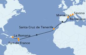 Itinerario de crucero Trasatlántico y Grande Viaje 2020 16 días a bordo del Costa Magica