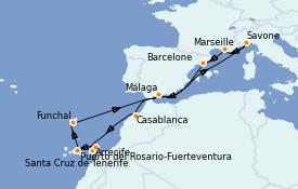 Itinerario de crucero Mediterráneo 15 días a bordo del Costa Magica