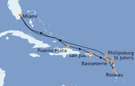 Itinerario de crucero Caribe del Este 11 días a bordo del Seven Seas Navigator