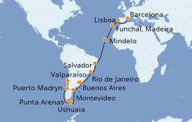 Itinerario de crucero Vuelta al mundo 2020 35 días a bordo del MSC Magnifica