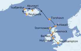 Itinerario de crucero Islas Británicas 15 días a bordo del Seven Seas Voyager