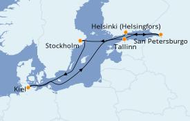 Itinerario de crucero Mar Báltico 8 días a bordo del MSC Splendida