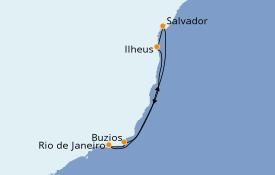 Itinerario de crucero Suramérica 7 días a bordo del MSC Fantasia
