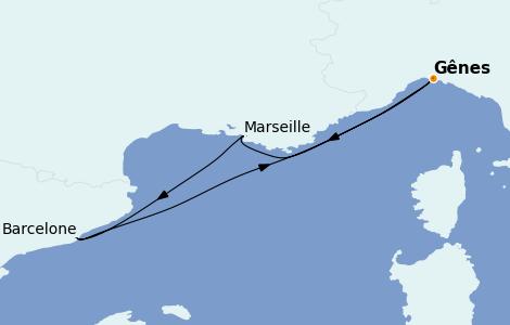 Itinerario del crucero Mediterráneo 4 días a bordo del Costa Firenze