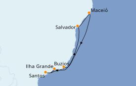 Itinerario de crucero Suramérica 8 días a bordo del MSC Seaview