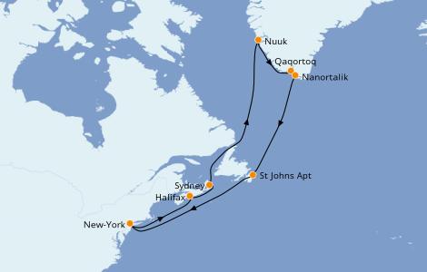 Itinerario del crucero Canadá 16 días a bordo del Caribbean Princess