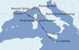 Itinerario de crucero Mediterráneo 8 días a bordo del Seabourn Encore