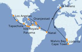 Itinerario de crucero Vuelta al mundo 2020 38 días a bordo del Pacific Princess