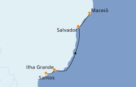 Itinerario de crucero Suramérica 5 días a bordo del MSC Seaview