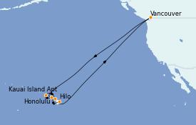 Itinerario de crucero Hawaii 16 días a bordo del Crown Princess