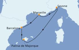 Itinerario de crucero Mediterráneo 6 días a bordo del Costa Diadema