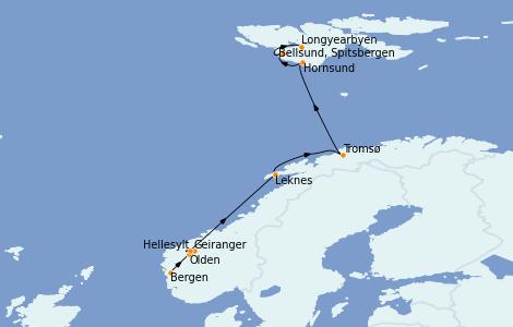 Itinerario del crucero Fiordos y Noruega 11 días a bordo del Le Boréal