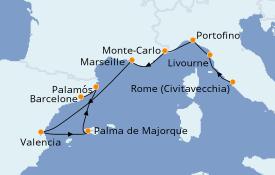 Itinerario de crucero Mediterráneo 11 días a bordo del Silver Dawn