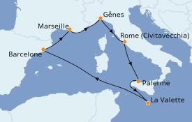 Itinerario de crucero Mediterráneo 8 días a bordo del MSC Grandiosa